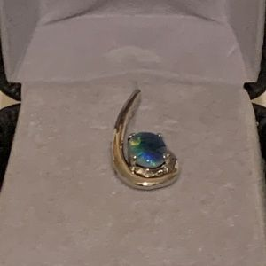 Blue green opal and sterling silver pendant